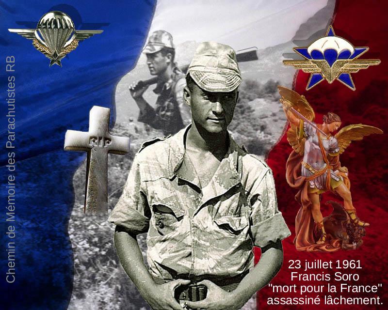 HOMMAGE à Francis SORO 1er RCP lâchement assasiné par le FLN le 23 juillet 1961