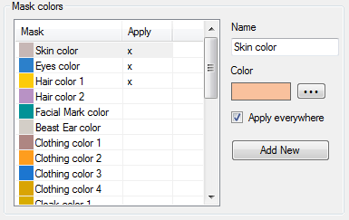Manage masks colors