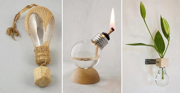 decoracao em lampadas: ideia para reciclar lâmpadas convertendo em utensílio de cozinha