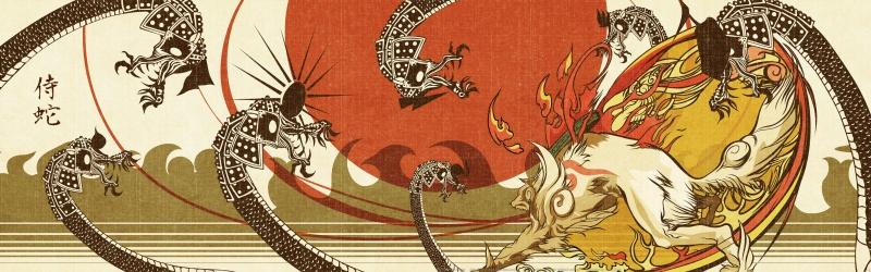 Amaterasu facing Orochi - Okami