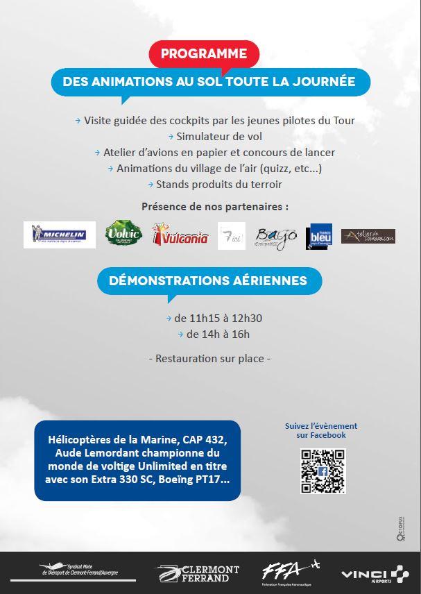 programme 100 ans piste en dur clermont-ferrand aeroport, hop tour, Meeting Aerien 2016,Airshow 2016