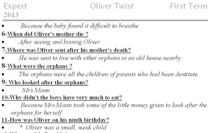مذكرة Oliver Twist كاملة وشاملة للصف الاول الثانوى جديد 2013