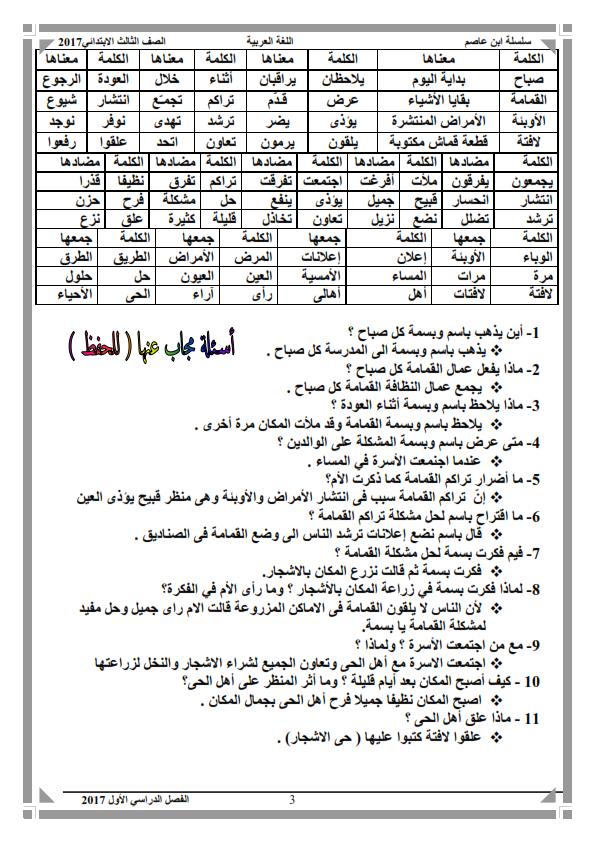 مذكرة اللغة العربية للصف الثالث الابتدائي الفصل الدراسي الأول 2017 منهج معدل شاملة استراتيجيات القرائية والقراءة الحرة pdf
