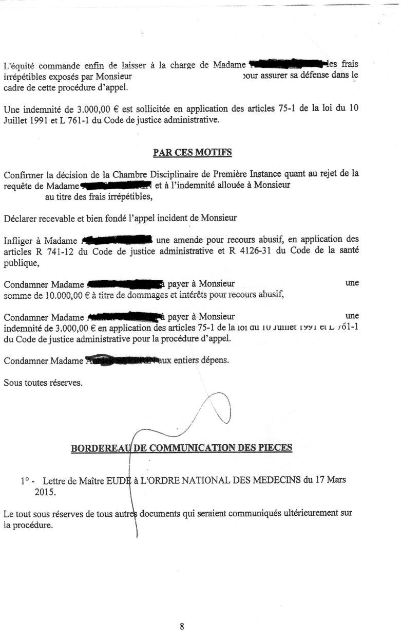 jugement appel ordre des médecins Paris affaire viol psychiatre 2015