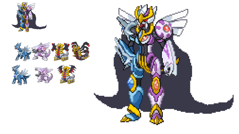 Creation Trio Pokemon Fusion Sprite ( Dialga + Palkia ...
